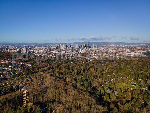 Frankfurt am Main mit Goetheturm und Taunus (04.02.2021)